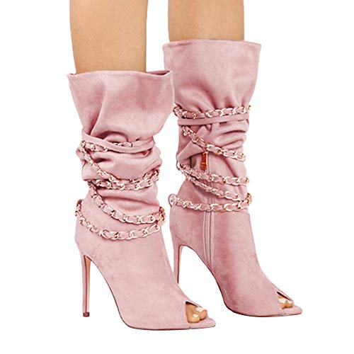 Freizeit Strass Super High Spitzschuh Unterhaltung Stiefeletten Winter High Rosa Party Martin Quadratische Schnalle Junjie Frauen Herbst Outdoor Heel Aushöhlen Stiefel n7YP88qxw