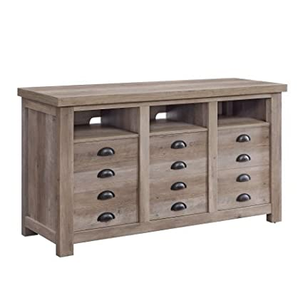 Modern Farmhouse Printers TV Cabinet Up To 70u0026quot;, Rustic Gray