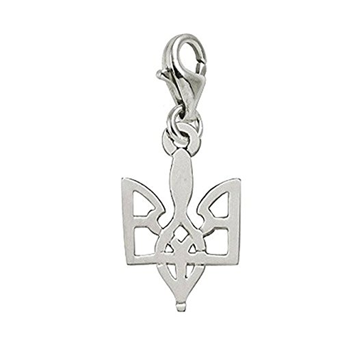 (14k White Gold Ukrainian Trident Charm With Lobster Claw Clasp, Charms for Bracelets and Necklaces)
