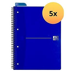 Oxford 100050225 Collegeblock - Cuaderno, A4+, 5 mm, 70 páginas, 90 g/m2, papel óptico, cuadriculado, paquete de 5, color azul