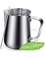 Milk Frothing Pitcher Jug - 12oz/350ML Measurements Steaming Pitchers, Stainless Steel Coffee Tools Cup, Espresso, Latte Art and Frothing Milk, Attached Latt Art Pen