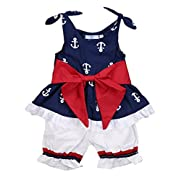 Infant Baby Girl Anchor Bow Vest Tops T-shirt+Shorts pants 2pcs Outfits Set (0-6 Months, Navy Blue&White)