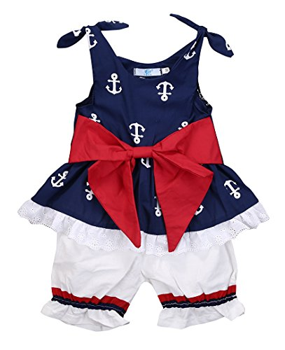 Infant Baby Girl Anchor Bow Vest Tops T-shirt+Shorts pants 2pcs Outfits Set (0-6 Months, Navy Blue&White) Bow Girls T-shirt