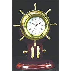 Brass Ships Wheel Clock with Rope