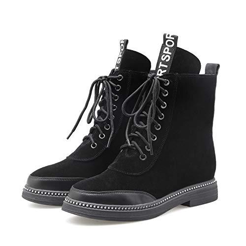 Yan Senderismo Con De Invierno Mujer Aire Negro Cordones Cuero Botines Al Para Caminar Libre Esmerilados Zapatos Otoño 1Pq1r