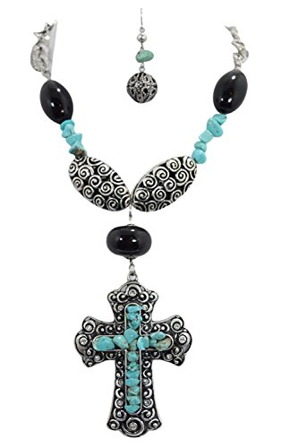 Western Cowgirl Rustic Bohemian Chunky Oversized Cross Necklace & Earrings Set (E)