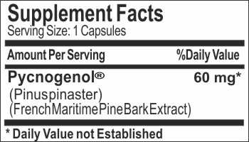 Pycnogenol ® French Maritime Pine Bark Extract 60mg ~ 60 Capsules - No Additives ~ Naturetition Supplements