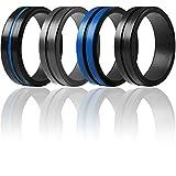 ThunderFit Silicone Rings for Men 4 Pack Rubber Wedding Bands (Grey, Black, Blue Black, Black Blue, 9.5-10 (19.8mm))