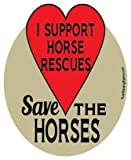 I Support Horse Rescues, Save The Horses hoof magnet - red