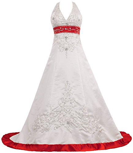 Women's Halter Wedding Dresses Color Satin Bridal Gown Si...