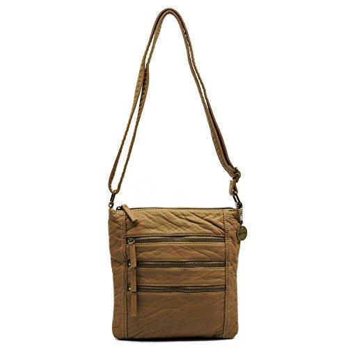 Sand Crossbody Glad Washed Fashion Bag Fashion Zip Triple x0Wv4Bn