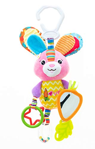 (Rabbit Baby Hanging Toys:3-6 Month, 1-3 Year Old Toys for Car Seat, Stroller, Baby Cot, Crib; Bunny Lods Toy for Newborn, Infant, Toddler,Babies with Crinkle, Rattle, Teether,Squeaker,Safety Mirror)