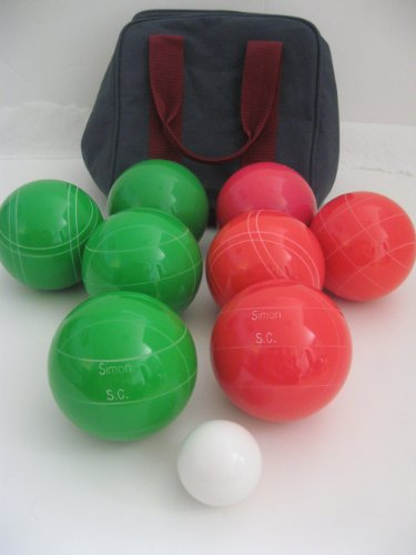 Premium Quality Engraved Bocce Package - 110mm Epco Green and Light Red Balls with Engraving by Epco