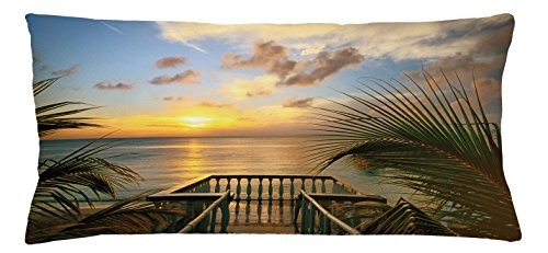Ocean Throw Pillow Cushion Cover by Ambesonne, Mediterranean Horizon Seascape from Wooden Terrace Balcony Fences Holiday Life Photo, Decorative Square Accent Pillow Case, 36 X 16 Inches, Multicolor (Mediterranean Terrace)
