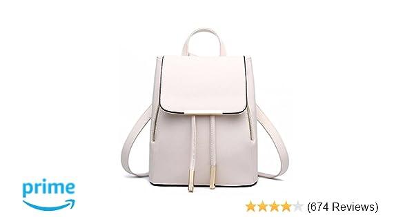 Amazon.com  WINK KANGAROO Fashion Shoulder Bag Rucksack PU Leather Women  Girls Ladies Backpack Travel bag (Beige)  Clothing f0894a4a68af8