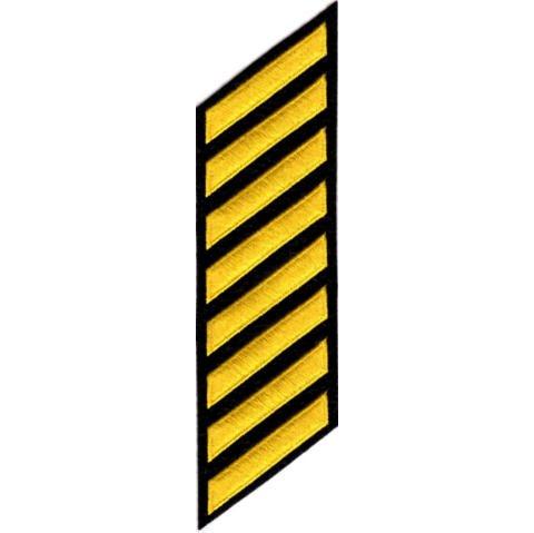 Black Felt Backing - Uniform Service Hash Marks - Medium Gold on Black Felt Backing - 8 Hashes
