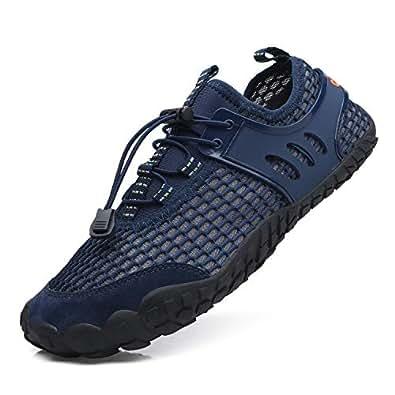 EXEBLUE Men Women Water Shoes Lightweight Breathable Mesh Aqua Shoes for Swim Walking Lake Beach Boating Blue Size: 8 Women/7 Men