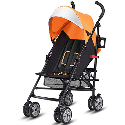 Costzon Lightweight Stroller, Aluminum Baby Umbrella Convenience Stroller, Travel Foldable Design with Oxford Canopy/ 5-Point Harness/Cup Holder/Storage Basket (Orange)