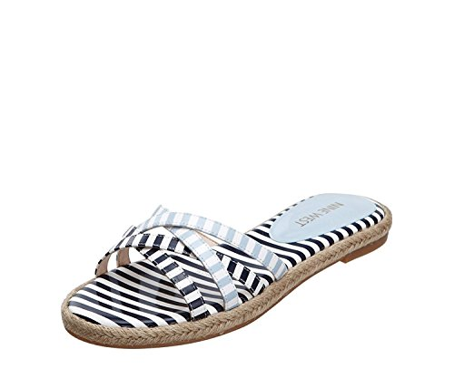 Nine West Women's Vern Synthetic Dress Sandal, White/Navy/White/Light Blue, 38 B(M) EU/6 B(M) UK