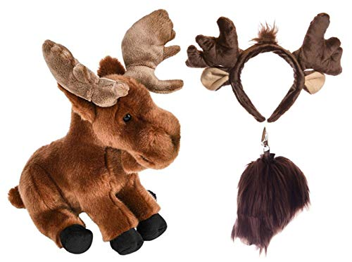 Wildlife Tree Stuffed Plush Moose Ears Headband and Tail Set with Baby Plush Toy Elk Bundle for Pretend Play Animals Dress Up