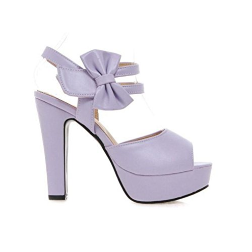 tacco velcro Bowknot openwork 47 piattaforma ruvido Moda da purple sandali YWNC donna impermeabile alto Scarpe Extra 31 large Yz4dOw