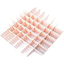 Qunqi 12pcs DIY Plastic Grid Drawer Divider Household Storage Organizer Separator for Home Tidy Closet Stationary Underwear Office Supplies