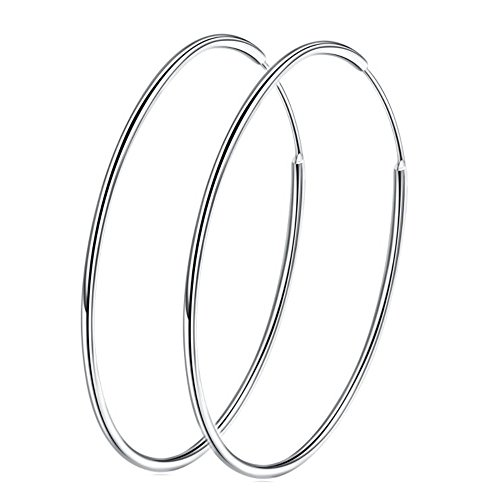 (Large Hoop Earrings Sterling Silver 925 Circle Endless Basketball Earring 40/50/60mm for Women Girls (70mm))