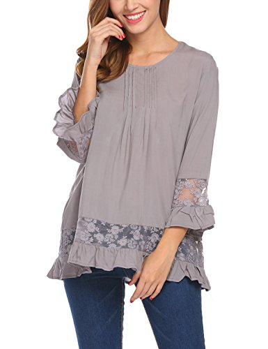 Sleeve Gauze Tunic (Sweetnight Womens Casual Round Neck Loose Fit Long Sleeve T-Shirt Blouse Tops (XL, Gray))