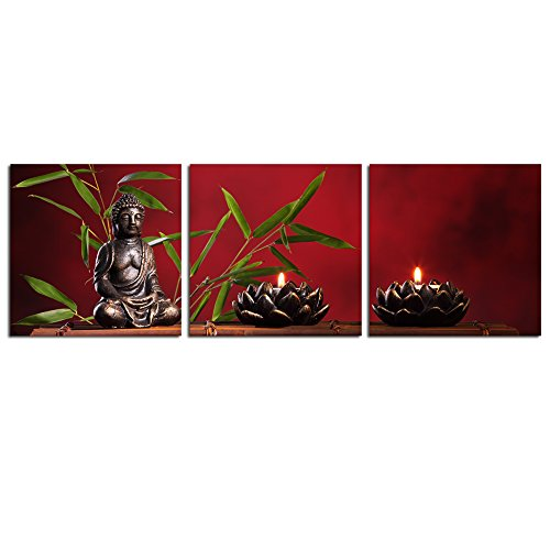 Live Art Decor - Buddha Wall Art,Zen Green Bamboo Picture Print on Canvas for Home Decoration,3 Panel Peaceful Life Artwork Easy Hanging (12