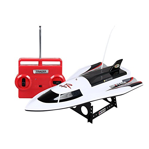 RONSHIN High Strength RC Boat Waterproof 4-Channel Remote Control Ship Power Rechargeable High Speed Rowing Model Toys Flying Fish-White (Flying Fish Boat)