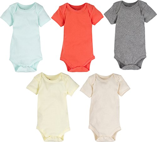 MiracleWear Solid Color 5-pack Bodysuits Daywear for Boy, Girl & Neutral Unisex (Color, 3-6 Months)