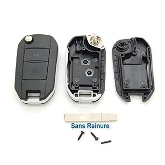 Peugeot - Carcasa con mando a distancia para llave compatible con Peugeot 107, 207, 307, 308 y 407 (2 botones)
