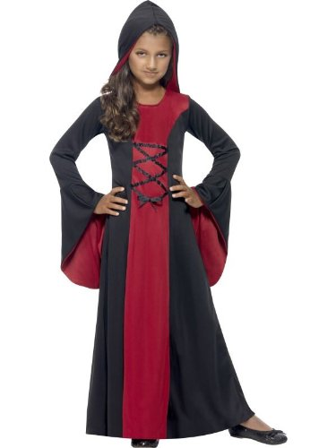 Black Robe Costume Uk (Large Black & Red Girls Hooded Vampire Robe Costume)