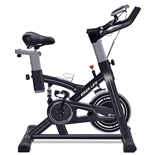 iDeer Life Exercise Bike, Indoor Cycling Bike, Smooth & Quiet Stationary Spin Bike, Fully Adjustable with Heart Rate Sensor, Extra Thick Metal Frame