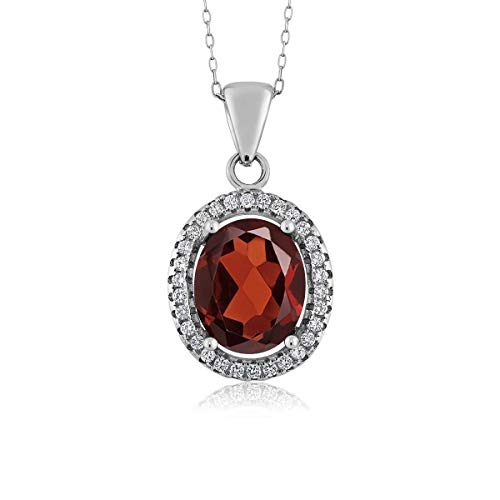 Gem Stone King Red Garnet 925 Sterling Silver Pendant Necklace 4.00 Ct Oval Gemstone Birthstone with 18 Inch Silver Chain