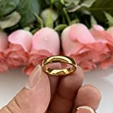 iTungsten 4mm 18K Gold Titanium Rings for Women Men Engagement Wedding Bands Classic Domed Polished Shiny Comfort Fit