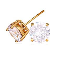U7 Jewelry CZ Earring 18K Gold/Platinum Plated 2.75 Carat Round-cut Swiss Cubic Zirconia Stud Earrings