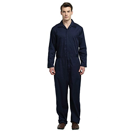 TopTie Men's Basic Long Sleeve Twill Zip-Front Coverall, Navy, L