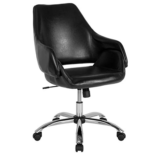 Flash Furniture Madrid Home and Office Upholstered Mid-Back Chair in Black - Chair Office Madrid