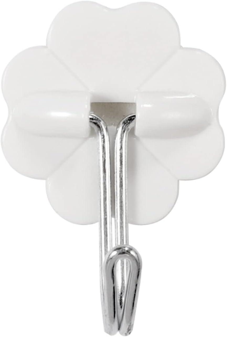 PPBB 10 Ganchos Impermeables Blancos pequeño Viscosa Cuadrado Redondo en Forma de Ciruela de plástico para Colgar en la Pared Gancho para Colgar Gancho de Metal detrás de la Puerta,B
