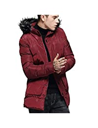 SWPS Men's Outdoor Jackets, Male Winter Fashion Hoodie Pure Color Zipper Thickened Cotton Padded Jacket Coat