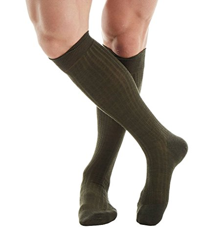 Pantherella OTC Merino Wool Dress Socks - 5x3 Rib (6796) Regular/Dark Olive