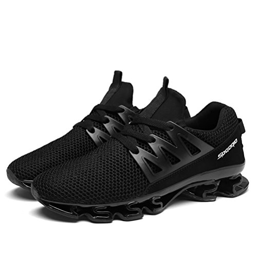 Dannto Men Sport Running Shoes Mesh Breathable Lace Up Elastic Non-Slip Casual Fashion Air Cushion Sneakers Black KdlWK1jsQ