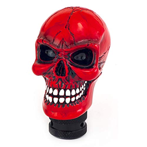 Thruifo Skull MT Car Stick Shifter, Small Teeth Devil Head Style Gear Shift Knob Fit Most Manual Automatic Vehicles, Red