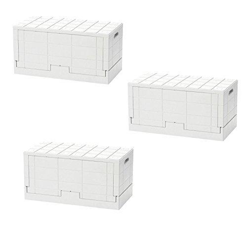 日本製 岩谷マテリアル I'mD (アイムディ) Grid Container グリッドコンテナー ホワイト 3個セット 炭の消臭剤付 B0753R7NRZ