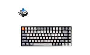 Keychron K2 Wireless Mechanical Keyboard with White LED Backlit/Gateron Blue Switch/Wired USB/Anti Ghosting /84 Key N-Key Rollover, Bluetooth Gaming Keyboard for Mac Windows PC Gamer