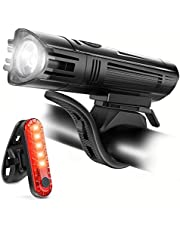 Ascher Rechargeable LED Bike Lights Set - Front Light Taillight Combinations LED Bicycle Light Set (1800mah Lithium Battery, IPX4, 2 USB cables)
