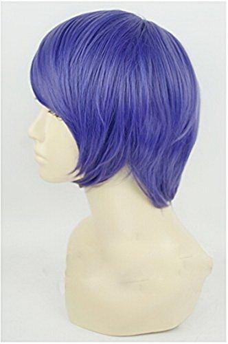 Xcoser Famous Anime Ghoul Shuu Tsukiyama Cosplay Short Purple Wig for Halloween