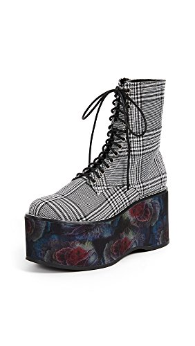 Campbell Flannel - Jeffrey Campbell Women's Bonfire Combat Boots, Black/White, 6.5 B(M) US