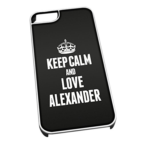 Bianco cover per iPhone 5/5S 0762 nero Keep Calm and Love Alexander